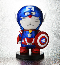 Anime Cartoon Doraemon Cosplay Iron Man Captain America PVC Action Figure Collrctible Toys
