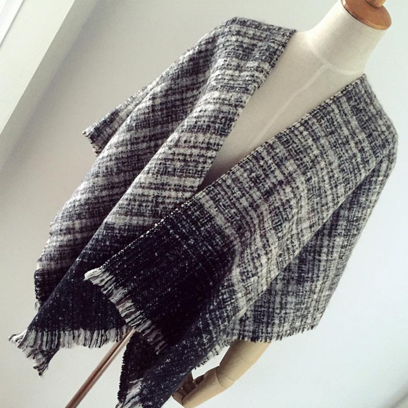 New Plaid Cashmere Poncho Blanket Scarf with Tassel Warm Shawl Cape Z-1674()