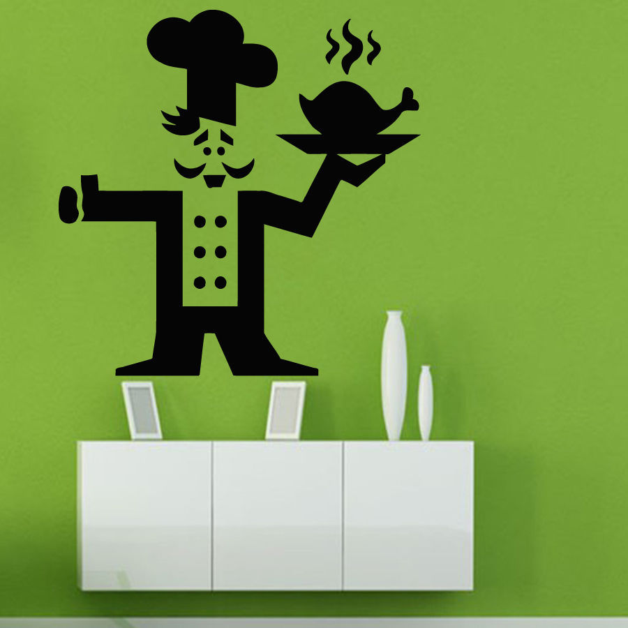 Creative Retaurant Vinyl Wall Decal Cafe Decor Chef Cook Hot Chicken Mural Art Wall Sticker Restaurant Home Kitchen Decoration(China (Mainland))
