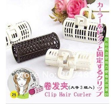3pcs/lot/pack Useful Popular Magical clip hair curler Soft resin Hair Care Styling Roll stick Roller Curler Large 2.5cm whcn+