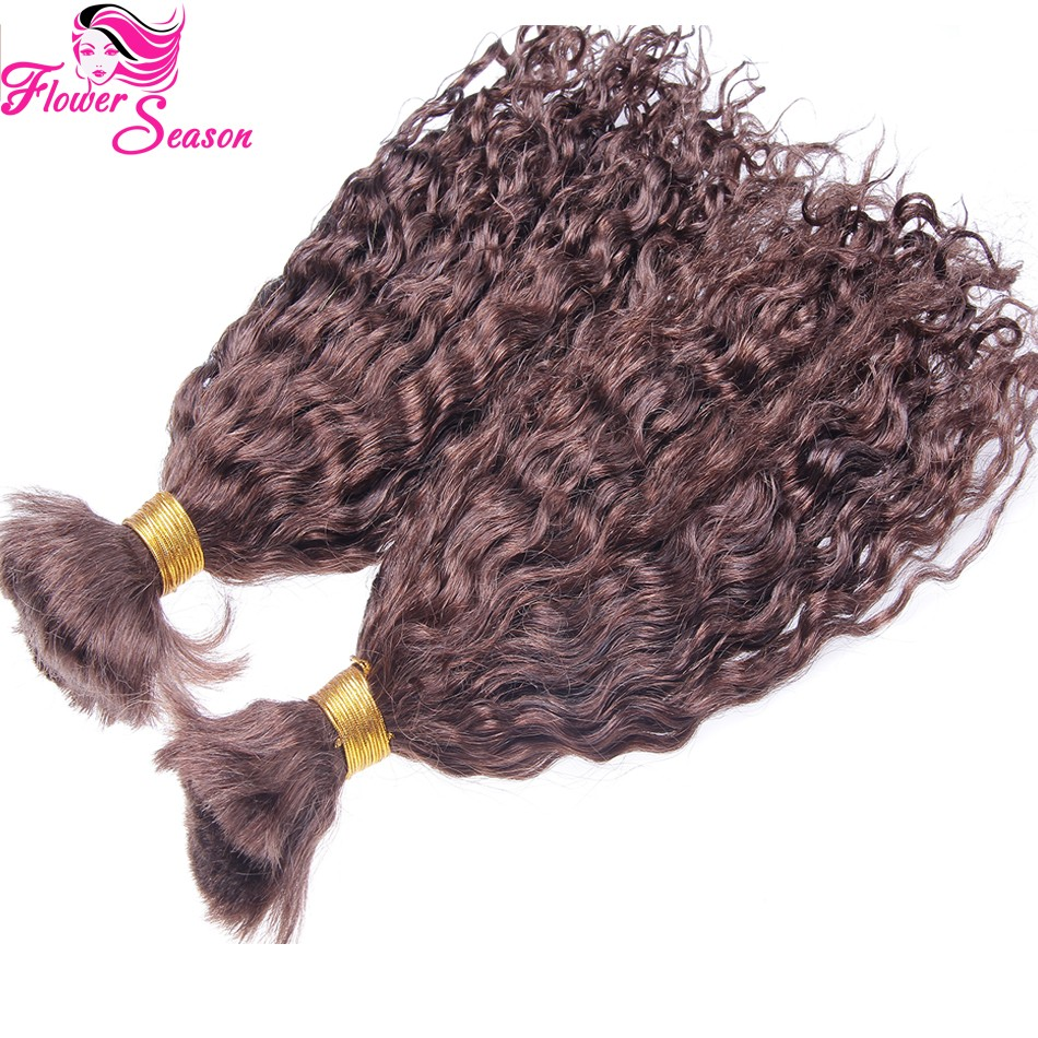1 Piece Natural Curly #4 Human Hair Bulk For Braiding No Weft Virgin Brazilian 100 Bulk HumanHair Wholesale