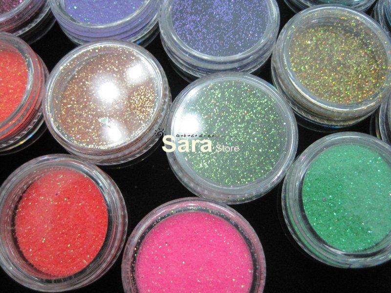50 prego cor festa Art Glitter pó sombras corpo pigmento / cabelo pó # UAG50