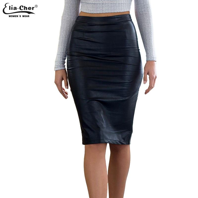 Autumn Work Office Faux Leather PU Pencil Skirts women casual plus size skirt clothing elegant sexy black midi Sheath skirts - EliaCher Store store