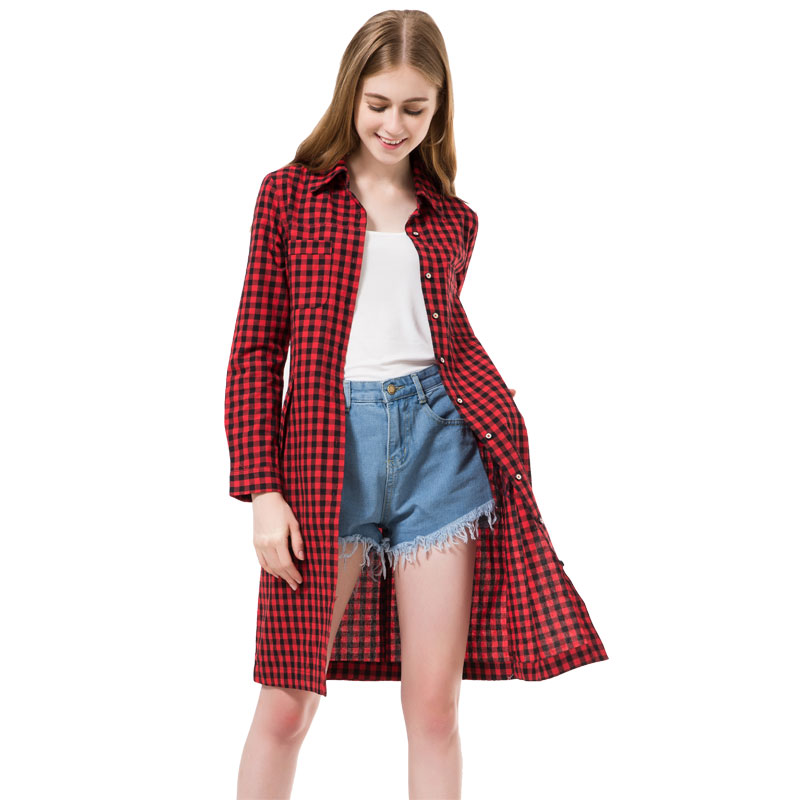 2016 Flannel Women Long Shirts Red Plaid Blouses Long Shirt Dress Chemise Femme Longue Casual Shirts Dress Women Clothing Autumn(China (Mainland))