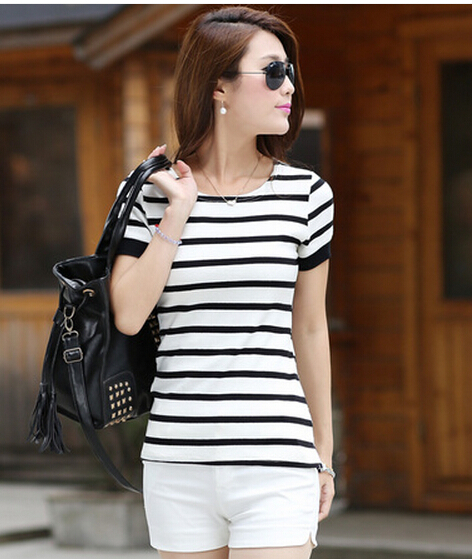 Blasting ms long stripe T-shirt fashion 100% cotton short sleeve cultivate one's morality render unlined upper garment - There are more beautiful store