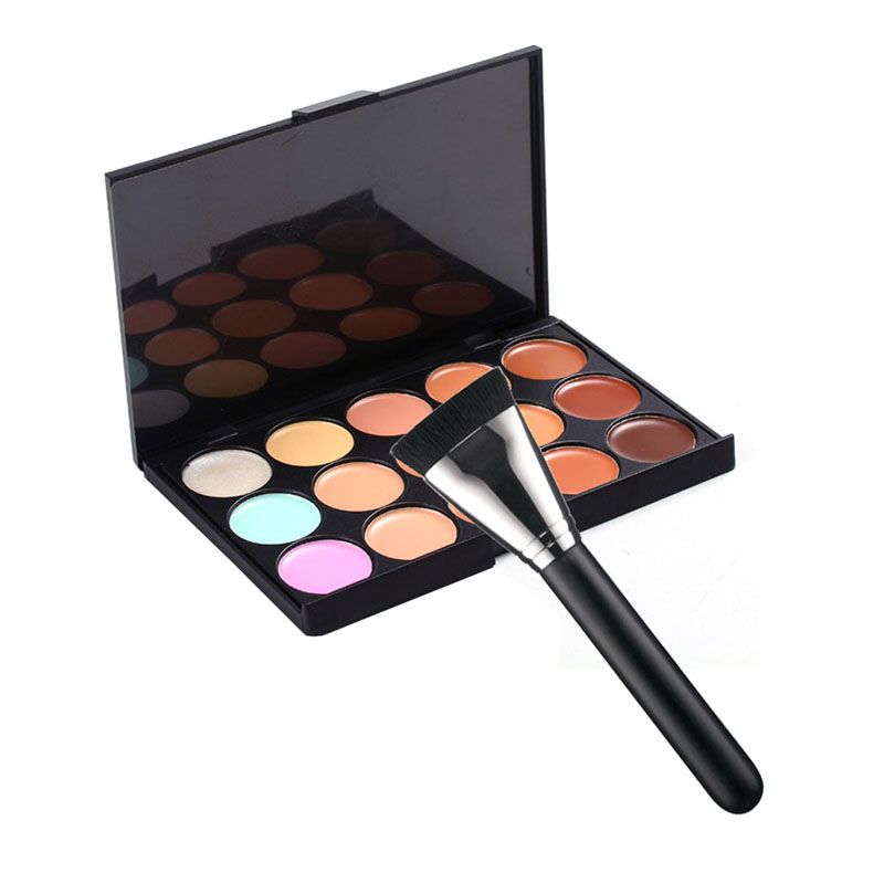 Professional 15 Colors Concealer Palette Makeup Face Cream Cosmetic Concealer with 163 Makeup Flat Brush FE#8(China (Mainland))