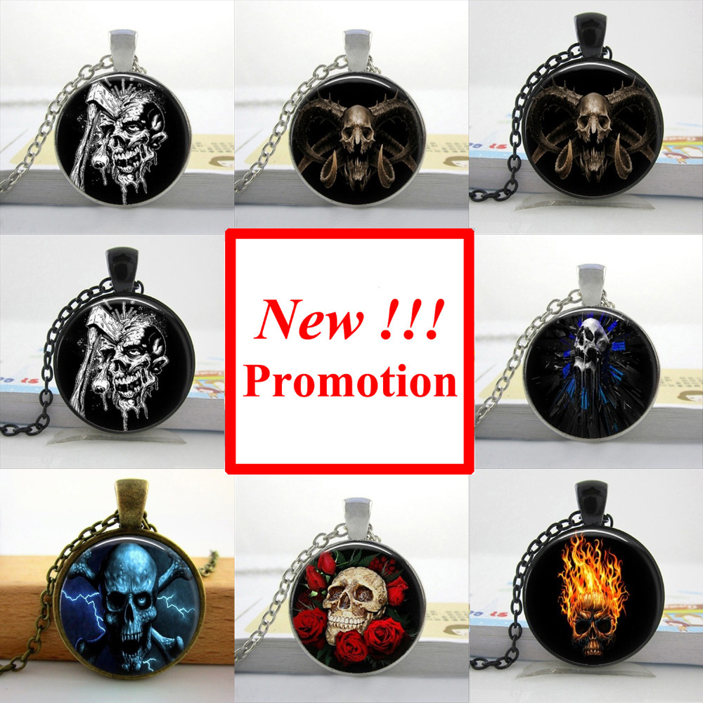 2015 New Fashion Ghost Seleton Necklace Gothic art Photo Jewelry Personalized Picture Necklace(China (Mainland))