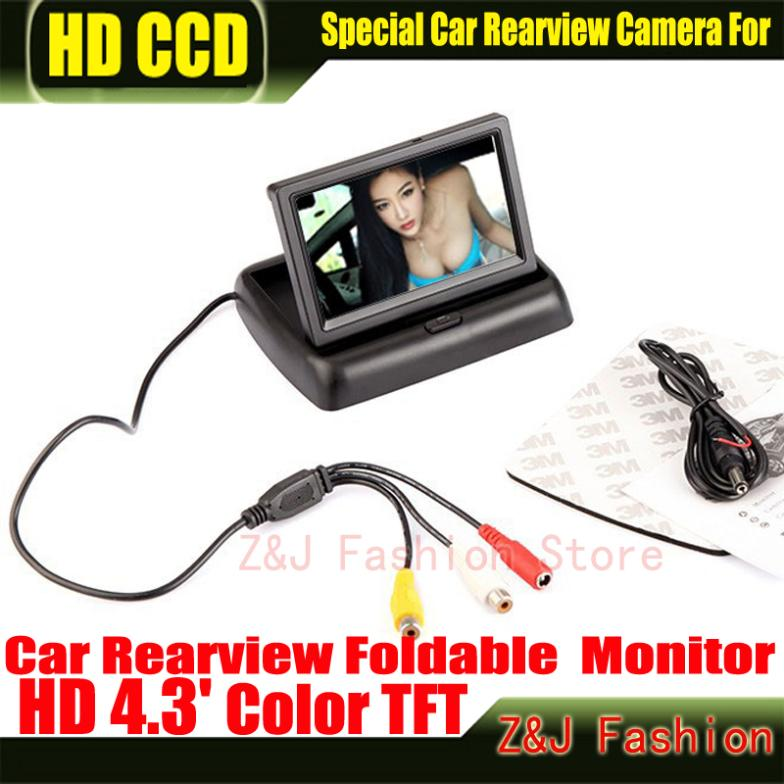 "Hot! 4.3"" TFT LCD Color Monitor car dashboard safety monitoring of Auto Reversing Parking Foldable Camera Rearview Monitor ZJ(China (Mainland))"