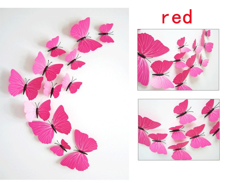 12Pcs 3D Multicolor Butterfly Wall Sticker For Kids Rooms Refrigerator Home Decor Mural Poster Decal Adesivo De Parede quotes