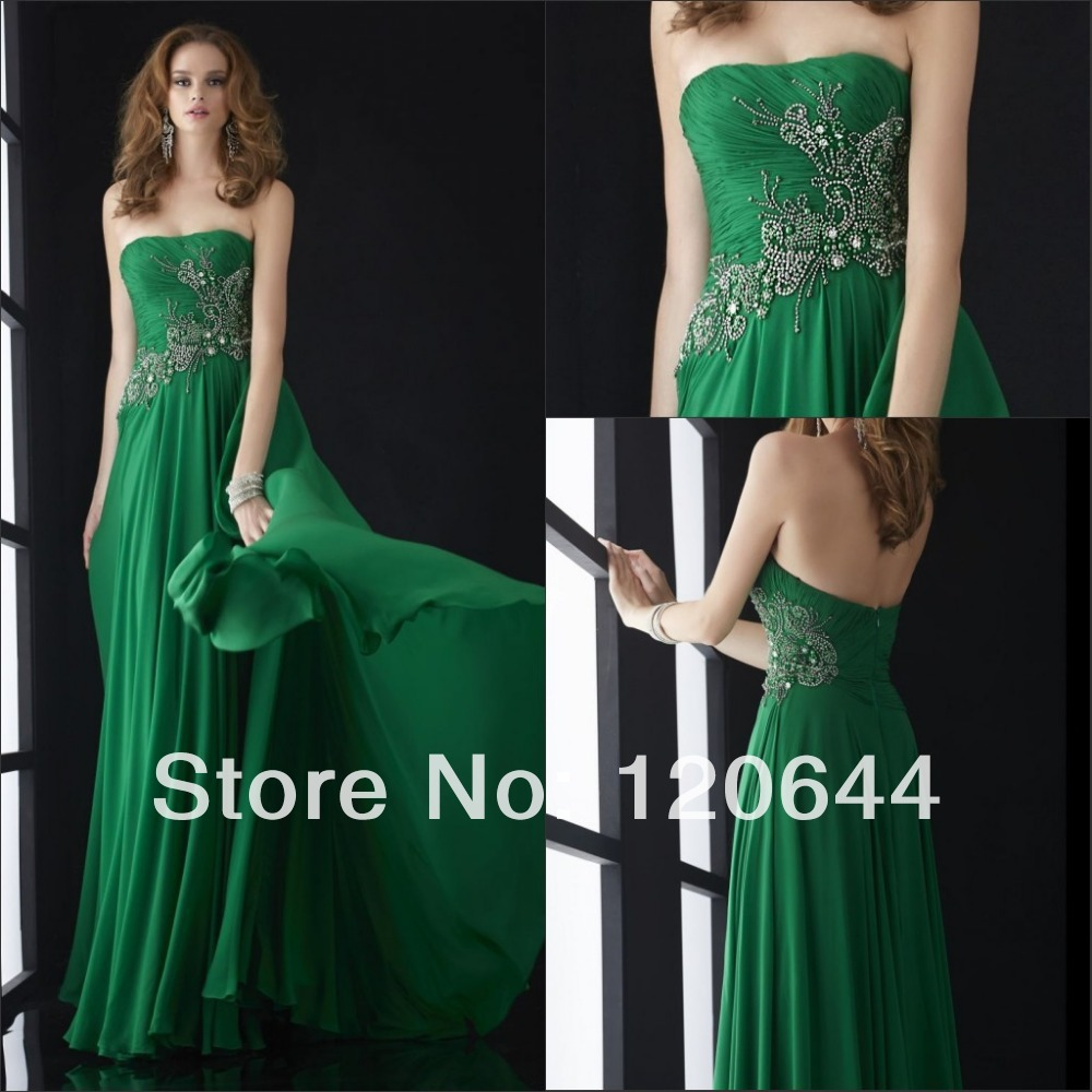 2014 Beading Elegant Strapless Long Emerald Green Chiffon Ruched Open Back Prom Party Gown Vestidos De Fiesta Evening Dresses - SuZhou Kamaliya Love Store store