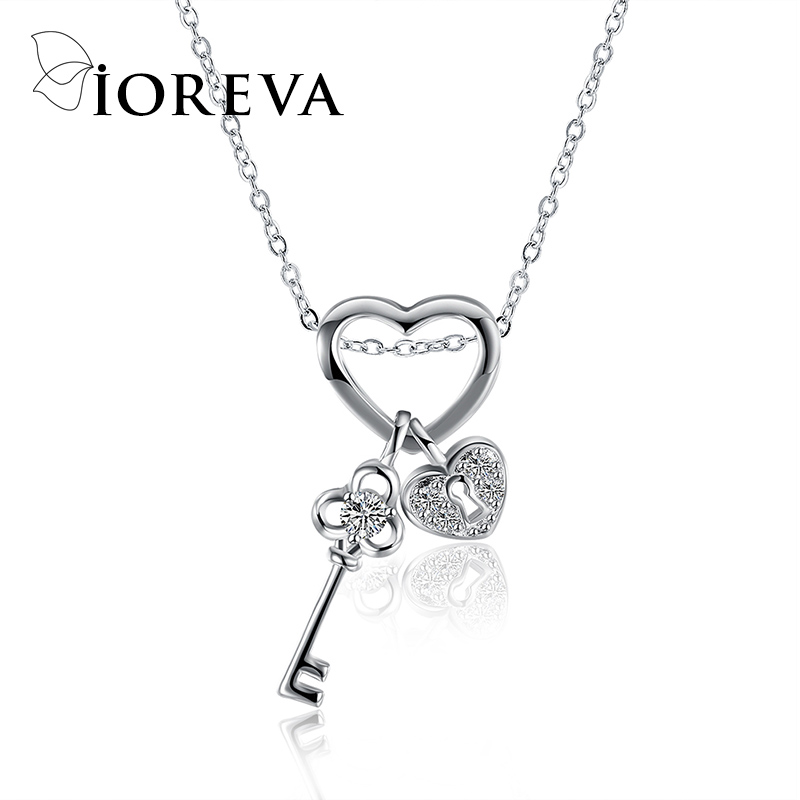 love heart chain necklaces & pendants silver color key zircon choker necklace statement women jewelry 925 colar collares(China (Mainland))