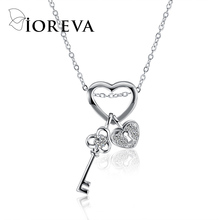 Buy love heart chain necklaces & pendants silver color key zircon choker necklace statement women jewelry 925 colar collares for $1.89 in AliExpress store