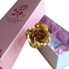 Upgrate Romantic Pink packing 24k gold foil plated Rose Romantic&Creative Valentine gift, Wedding gift artificial flower gift(China (Mainland))
