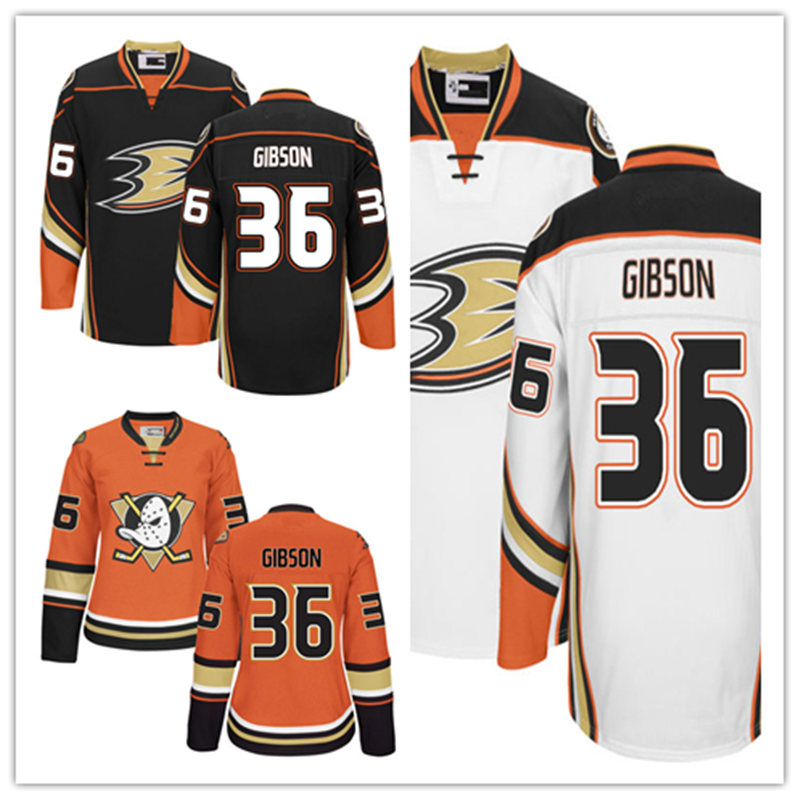 Men's stithced cheap Anaheim Ducks Home Black Away White ICE hockey Jersey 36 John Gibson 2016 Premier Alternate Orange Jerseys