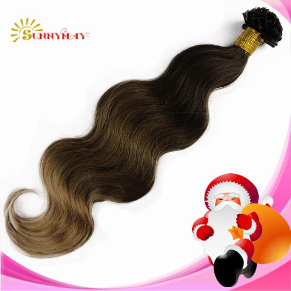 100% Brazilian virgin human hair extension stick tip U shape tip(China (Mainland))
