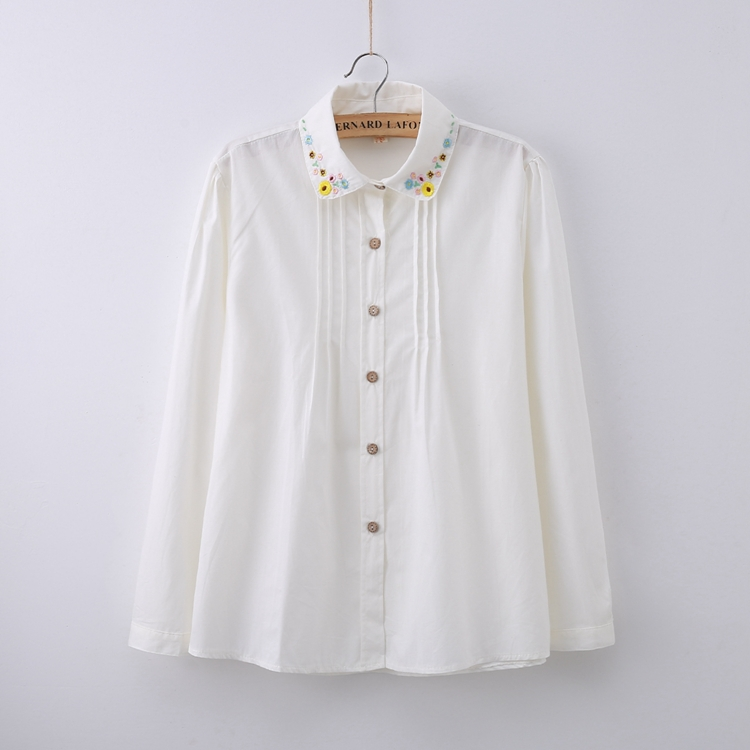 White cotton blouse with peter pan collar the blouse for White cotton shirt peter pan collar
