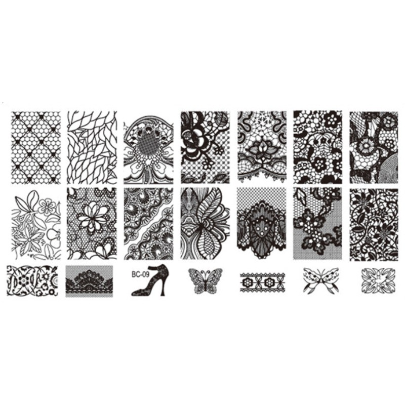 1Pcs DIY Nail Art Image Black Lace Flower Design Tool Equipment Stamp Stamping Plates Manicure Template