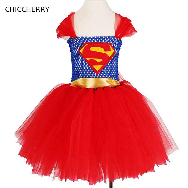 Red Superman Girls Dress Classic Children Lace Tutu Super Hero Toddler Girl Halloween Party Dresses Roupas Menina Kids Clothes