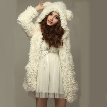 2016 New Fashion Women Winter Warm Soft Thicken Fleece Hoodies Jacket Poncho Bear Ear Hooded Coat Outerwear sudaderas Mujer
