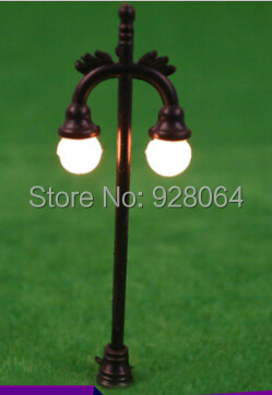 Black Pole / Double luminous street / garden lights / landscape model material / sandbox mold material / DIY craft materials(China (Mainland))