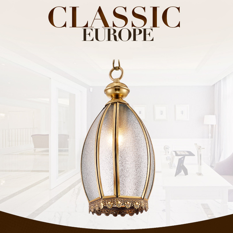 Simple Fashion European Copper Led Chain Pendant Light American Traditional Dining Room Frosted Glass Hanging Lamp(China (Mainland))