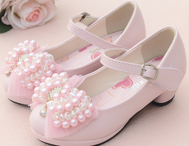 child leather high heels shoes for baby girls 2014 female pearl bow princess wedding shoes pink white color moccasin shoes 5(China (Mainland))