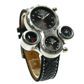 2016 New Fashion Oulm Multi Function Military Sports Male Watch 2 Dial Compass Leather Strap Men
