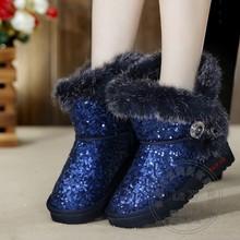 Tela de Lentejuelas casuales Slip Euro En Nubuck Punta Redonda Impermeable Bling Conejo Tobillo Plataforma Botas Nieve de La Manera de Las Mujeres Zapatos de Invierno(China (Mainland))