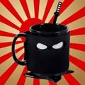 Free Shipping 1Piece Assassinate Caffeine Cravings Ninja Mug Black Mask Ceramic Mug with Spoon Sword and