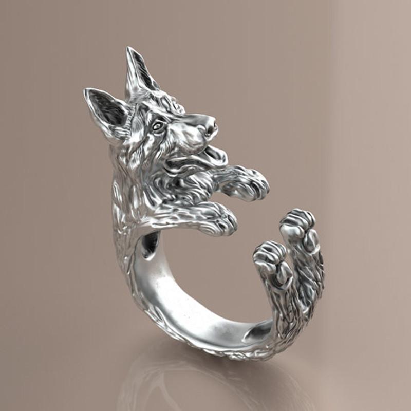 10pcs/lot retro punk German Shepherd Ring free size hippie animal German Shepherd dog Ring summer jewelry for pet lovers(China (Mainland))