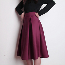 2016 Summer Autumn Winter New Casual Fashion Vintage Elegant Flared Pleated A Line High Waist Women Knee Length Midi Tutu Skirt