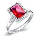 High Quality Red Sapphire Ruby With White Topaz 925 Sterling Silver Jewelry Wedding Ring For Women