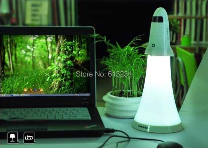 Free Shipping 6 Pieces Apollo 2 in 1 LED Rechargeable Rocket Table Lamp Night Light & Flashlight(China (Mainland))