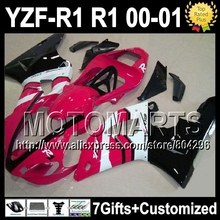 7giftsFor YAMAHA 00-01 YZF R1 1000 HOT YZF-R1 YZF-1000 YZFR1 00 01 Pink white black 2000 2001 J99871 YZF1000 ABS Fairing - Motomarts store