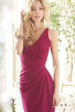 Burgundy v neck long Bridesmaid Dresses