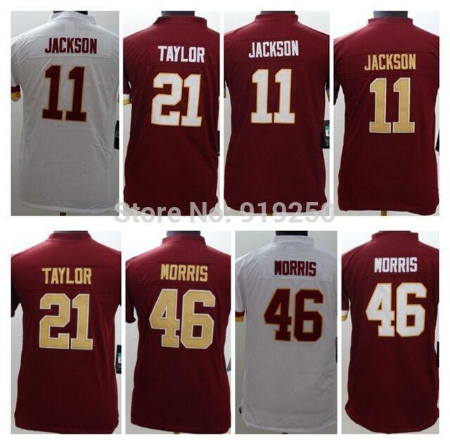 Wholesale 11 DeSean Jackson 21 Sean Taylor 46 Alfred Morris White/Red Embroidery Logos Youth Football Jerseys Size:S-XXL