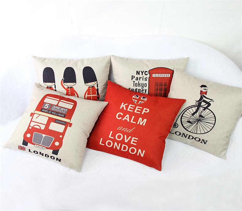 Decorative Sofa Cushion Cover Throw Pillow Case 18 inch Vintage Decorbox Cotton Linen Square Cute Cartoon PC0009 - HANGZHOU LEABETTER SHOP store