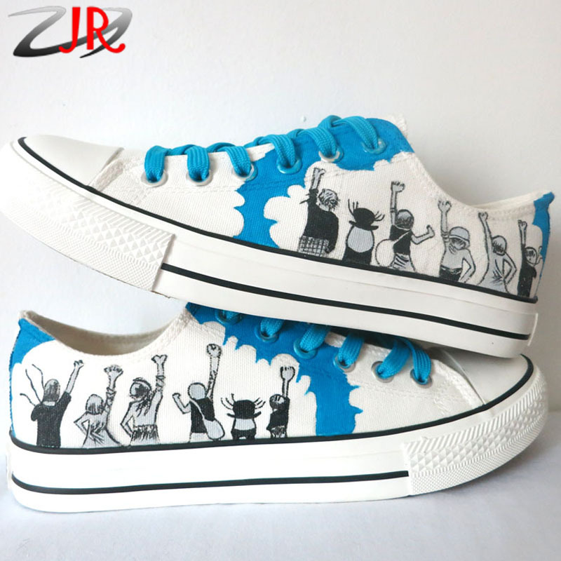 YJR Boys Girls Graffiti Hand Painted Shoes One Piece Anime Canvas Sneaker for Men Women Low Top Lace-Up Casual Sneakers