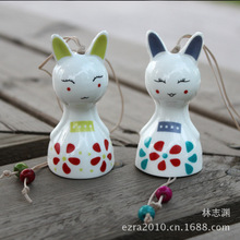 Free Shipping (10 pcs/lot) Japan Style Wind Chime Lovely Rabbit Wind Bell Handmade Ceramic Crafts Home Decoration Kids Gifts