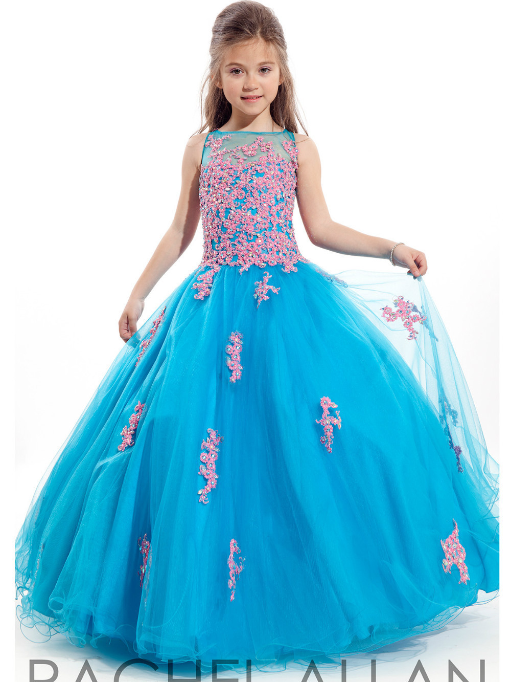 2016 Girls Pageant Dresses Ball Gown Turquoise Beaded Blue