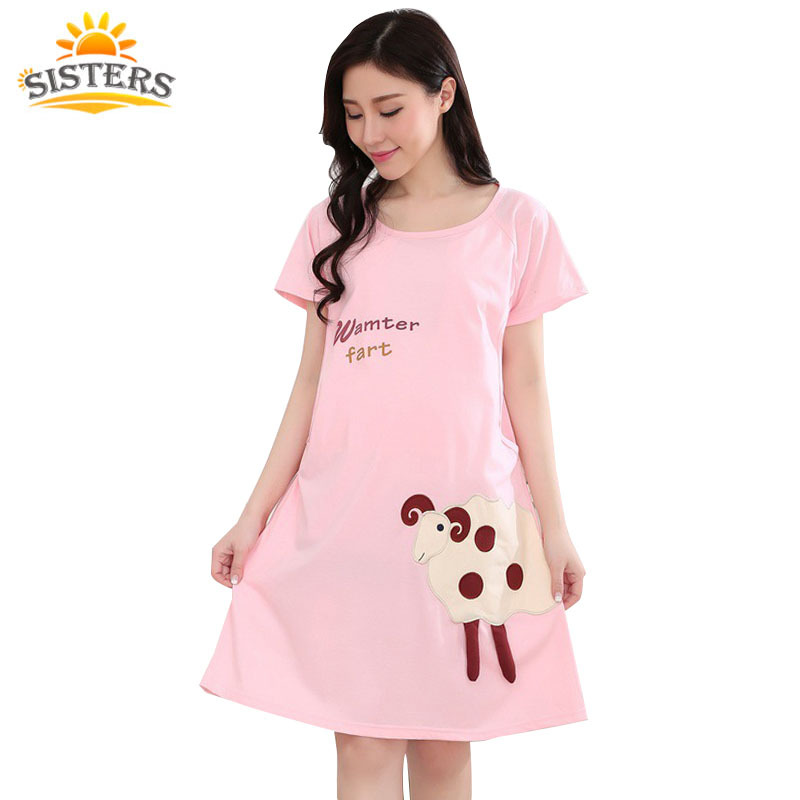 Гаджет  2015 New Cotton Cartoon Maternity Sleepwear Pregnant Women Pajamas Nursing  Breast Feeding Nightgown Clothes For short Sleeve None Детские товары