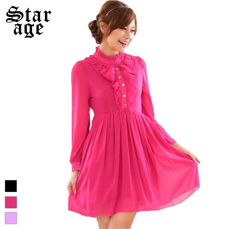 S~XXXL Brand Ladies Solid Ruffles Long Sleeve Casual Dress Chiffon Pleated Dresses 2016 New Spring Plus Size Women Clothing 9817(China (Mainland))