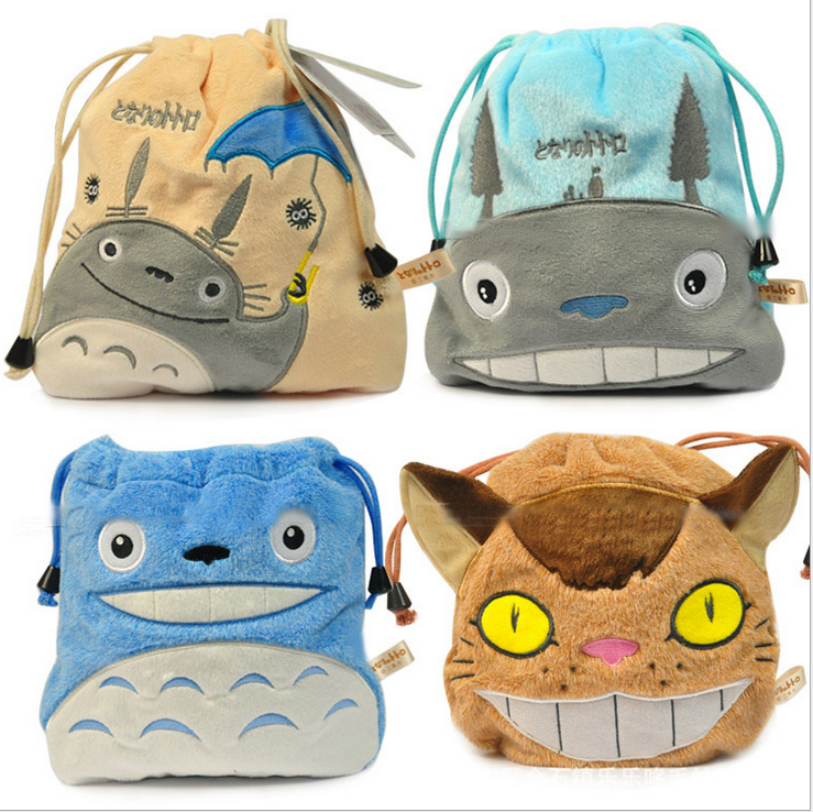 2016 Animal Cartoon My Neighbor Totoro Stuffed Toys Drawstring Beam Port Storage Bag Boys & Girls Pretty Plush Toy Birthday Gift(China (Mainland))