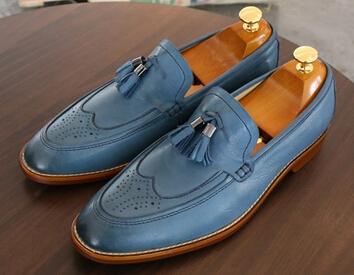 New European fashion personality comfortable light blue block tassel kraft low BangTao foot men's shoes(China (Mainland))