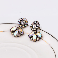 sTAY Jewerly 2014 New Fashion jewelry Vintage Crystal Small Stud Earrings Retro hoop For Woman Christmas Gift Wholesale sfe19(China (Mainland))