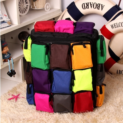 Novel personalized Color stitching Sudoku many pockets Travel backpacks practical large capacity canvas Student backpacks #0034(China (Mainland))