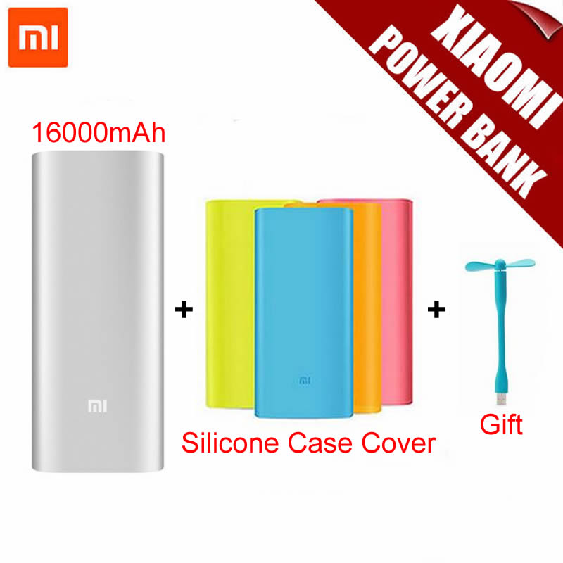 Original Xiaomi Mi Power Bank 16000mAh Portable Charger Mi Powerbank External Battery Pack for Mobile Phone Backup Powers+ Case(China (Mainland))