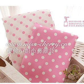 Pink princess big polka dot cloth - slanting 100% stripe cotton cloth printed cherry fabrics(China (Mainland))