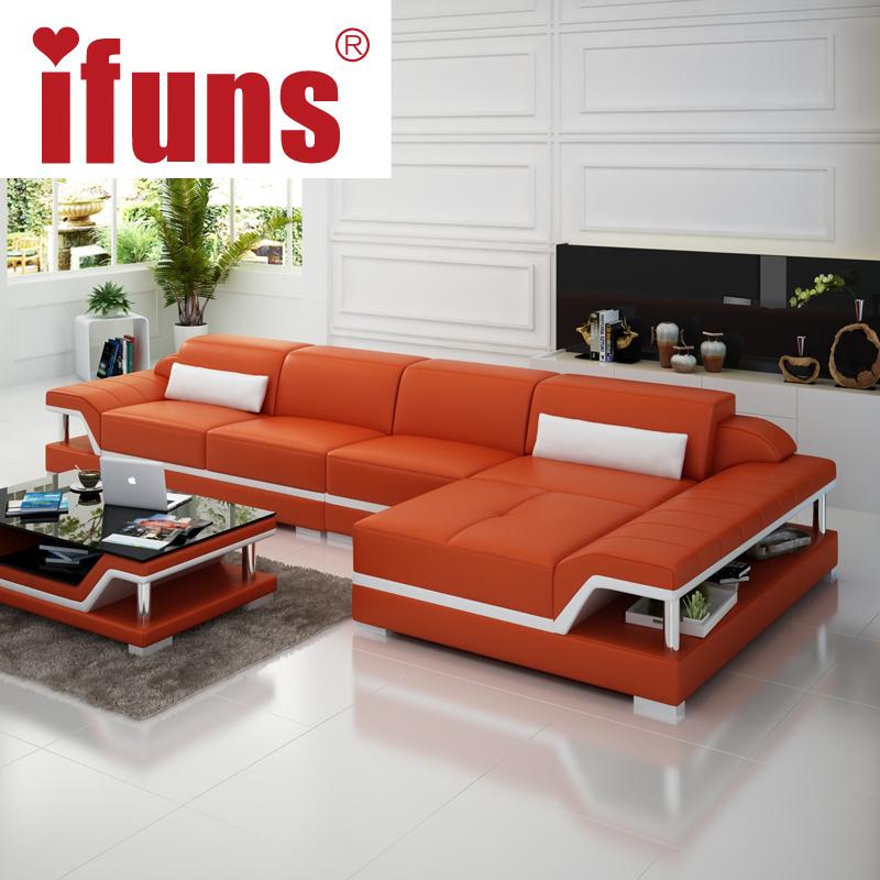 IFUNS chaise sofa set living home furniture modern design genuine leather sectional sofa l shape corner China exprot(China (Mainland))