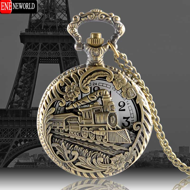 Vintage Charming fashion jewelry train carved openable Hollow pocket watch Men SteamPunk Necklace Pendant Quartz Watch
